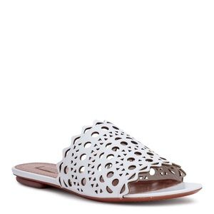 Alaia Paris White Leather Laser Cut Sandals 5